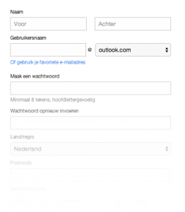 Outlook registreren